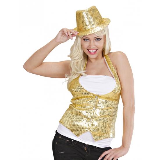 Kleuren kostuums Carnavalskostuum winkel Gouden gilet met pailletten voor dames
