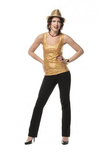 Gouden holografische stretch top dames