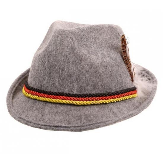 Grijze Oktoberfest hoed van vilt Carnavalskostuum winkel Feest hoeden