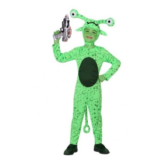 Groen alien kostuum inclusief space gun voor kids