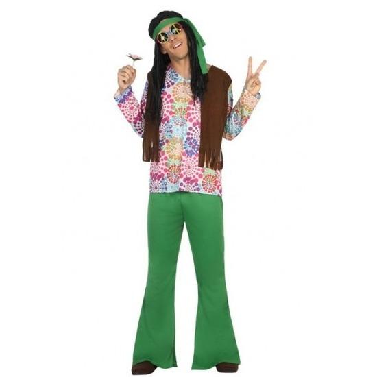 Groen/bruine hippie/flower power verkleedkleding voor heren
