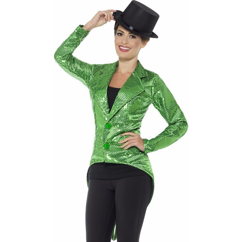 Groen dames slipjas met pailletten Geen Soorten kostuums