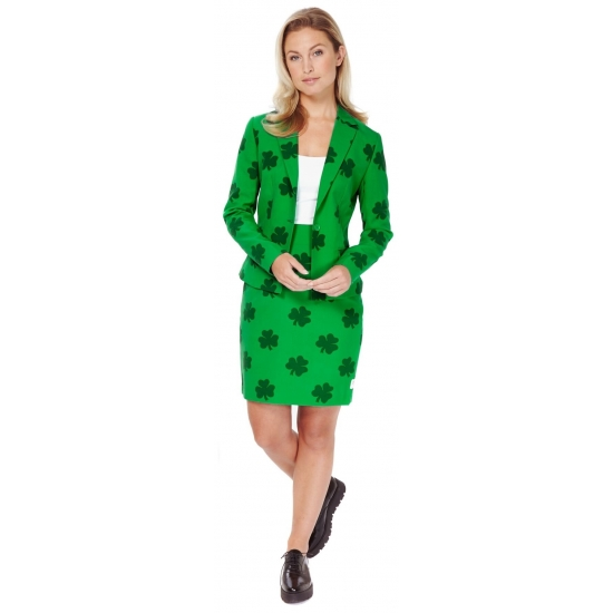 Groen getailleerd mantelpak voor dames met klavertjes print Carnavalskostuum winkel Schitterend