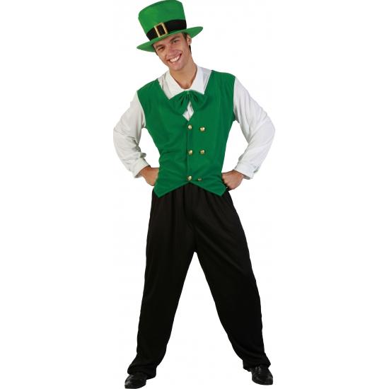 Groen kostuum voor heren met strik en hoed