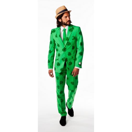 Groene business suit met klaveren print