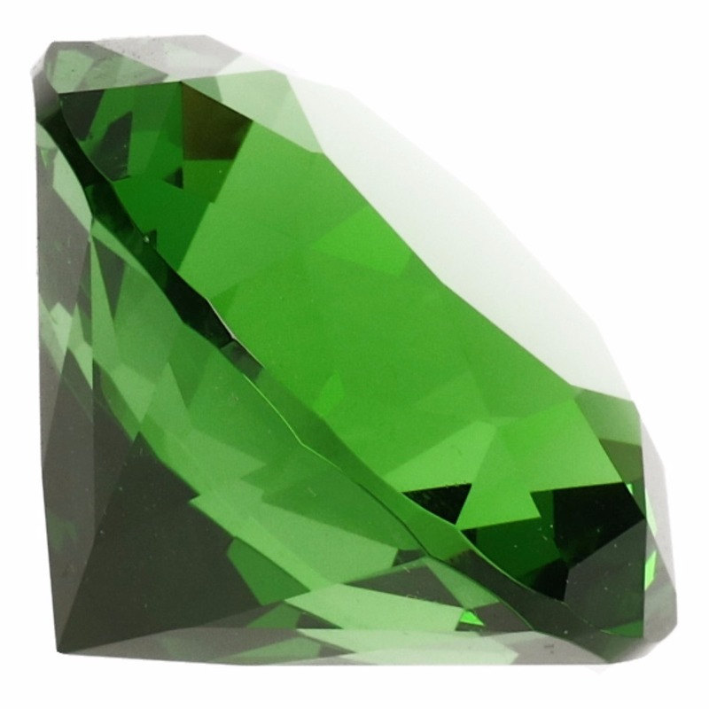 Groene nep diamant 4 cm van glas
