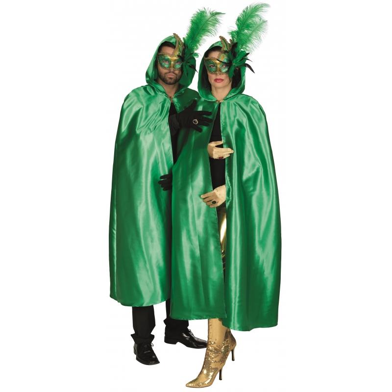 Soorten kostuums Groene satijnen cape voor volwassenen