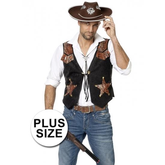 Grote maat cowboy vest voor heren Carnavalskostuum winkel Geschiedenis kostuums
