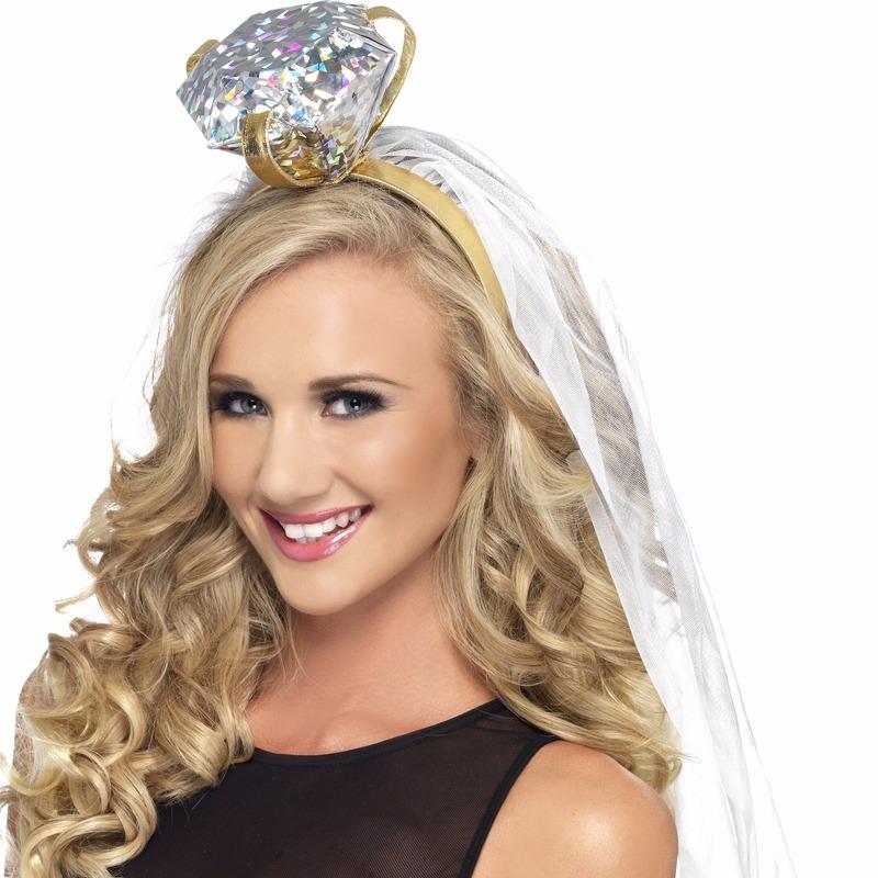 Bruiloft en Huwelijk feestartikelen Smiffys Haarband met grote ring en sluier