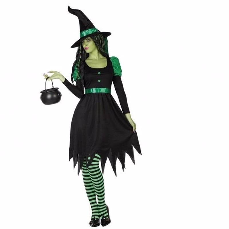 Halloween - 2-delig zwarte heksen kostuum voor dames