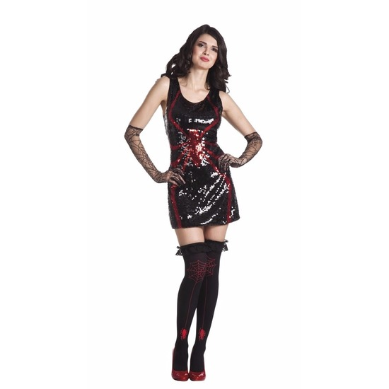 Halloween Dames pailletten spinnen jurkje zwart Geen Halloween kostuums