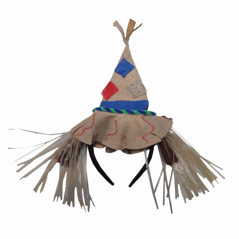 Geen Halloween Diadeem met vilten vogelverschrikkerhoed Verkleedaccessoires