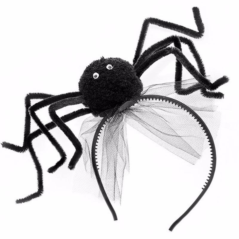 Halloween diadeem met zwarte spin