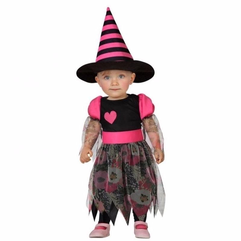 Halloween - Halloween heksenjurk voor peuters zwart met roze