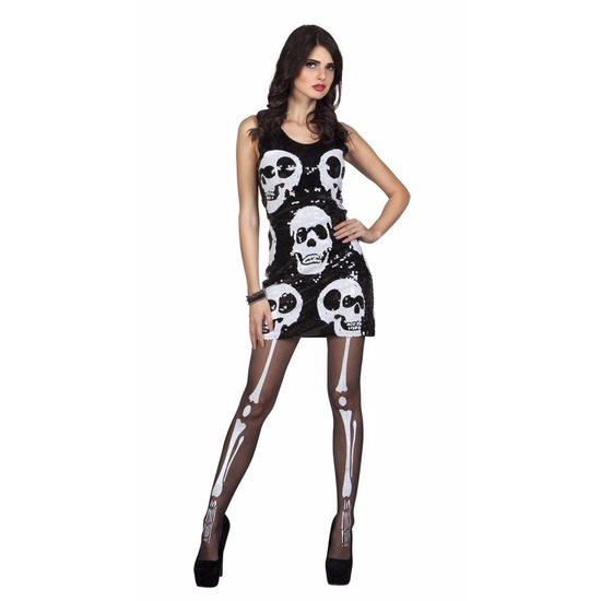 Halloween - Halloween schedel jurkje met pailletten