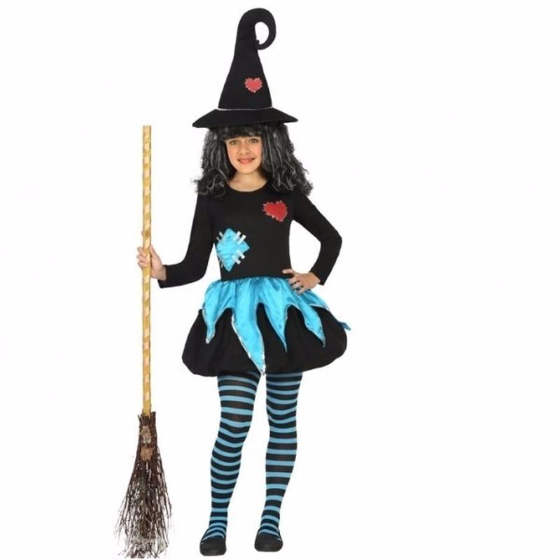 Geen Halloween Heksen kleding blauw zwart voor meisjes Halloween kostuums