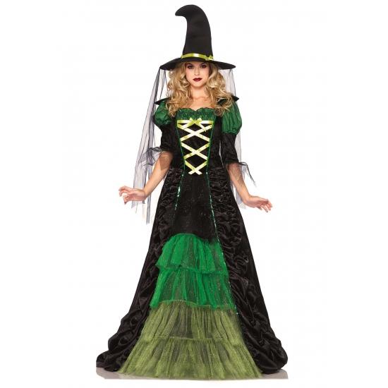 Halloween - Heksen kostuum groen met zwart