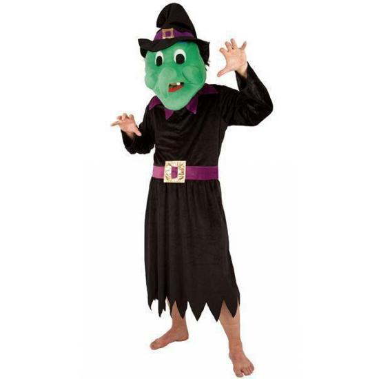 Halloween - Heksen kostuum met groot pluche masker