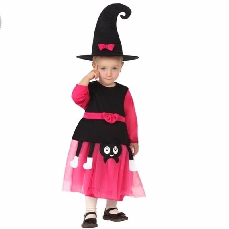 Halloween - Heksen kostuum zwart met roze voor peuters
