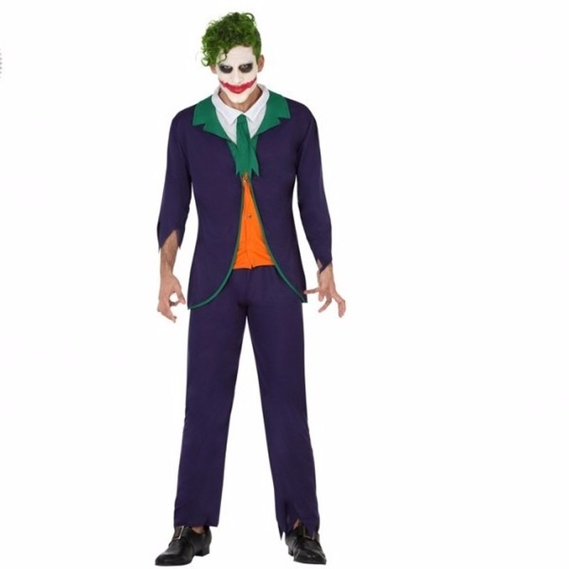 Halloween horror clown Joker heren kostuum
