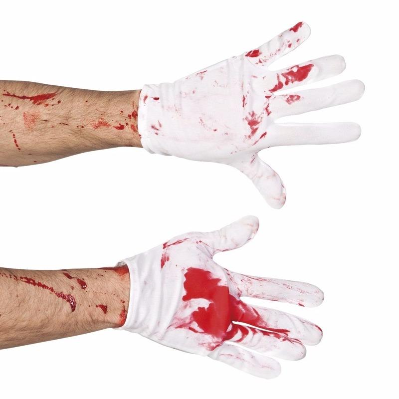 Halloween - Korte witte handschoenen met bloed