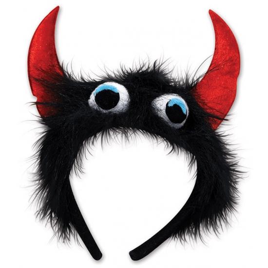 Carnavalskostuum winkel Halloween Monster diadeem zwart rood Verkleedaccessoires