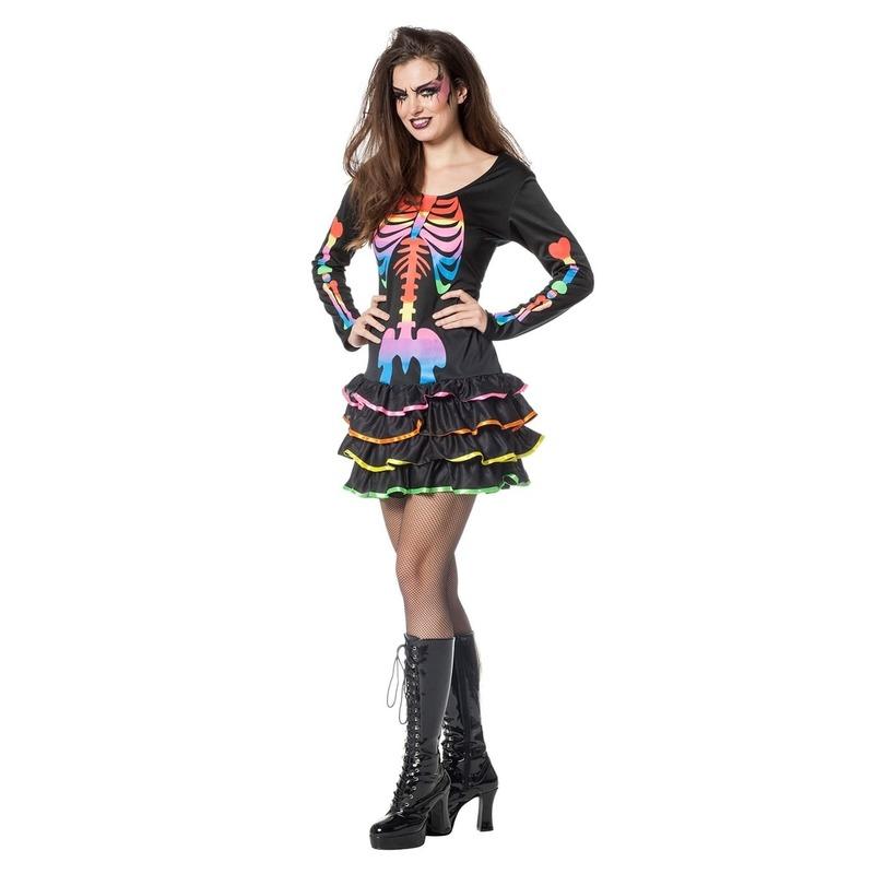 Halloween - Neon skelet halloween jurkje voor dames