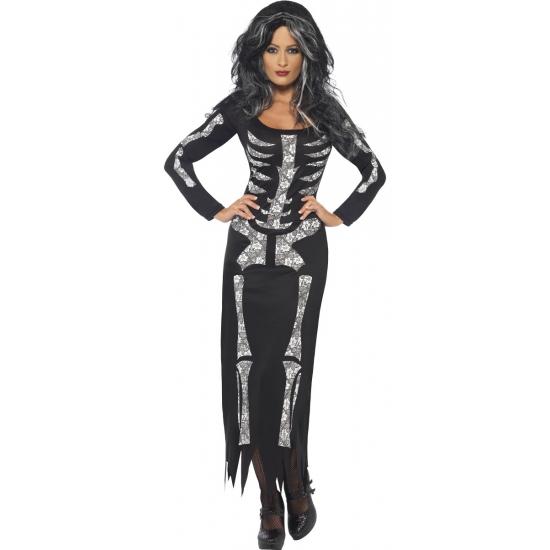 Halloween - Skeletten jurk zwart voor dames