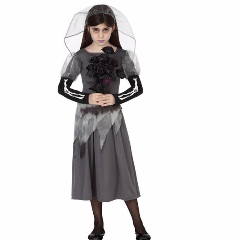Halloween kostuums Geen Halloween Zombie bruidsjurk inclusief sluier voor meisjes