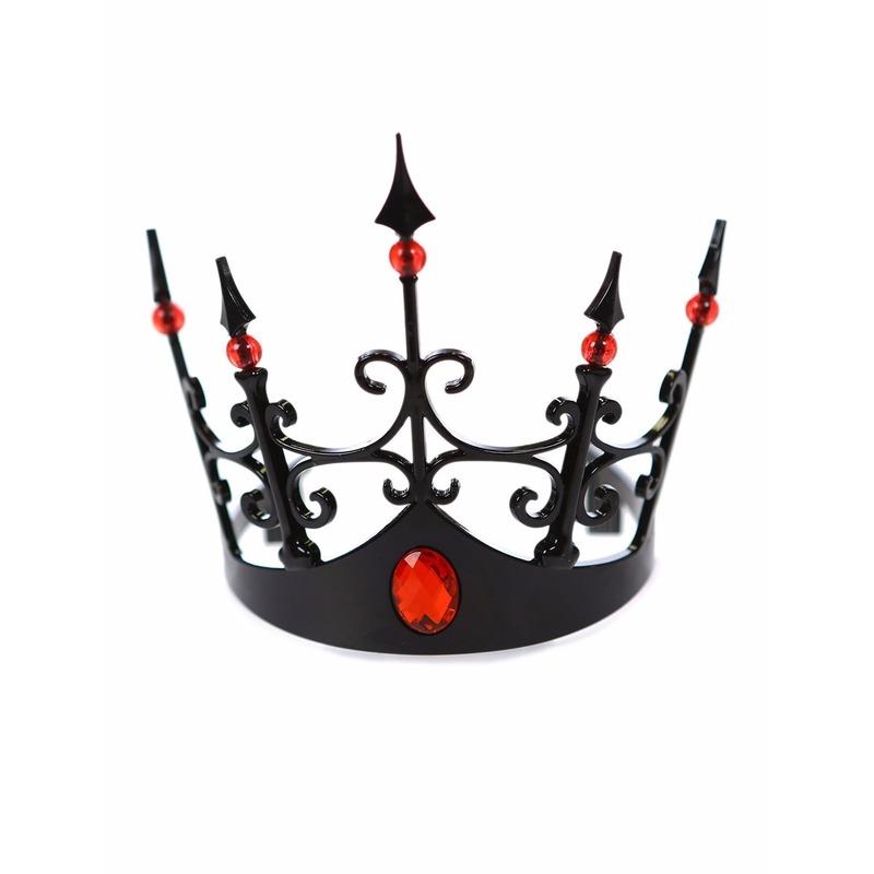 Halloween - Zwart kroontje met rode stenen voor dames