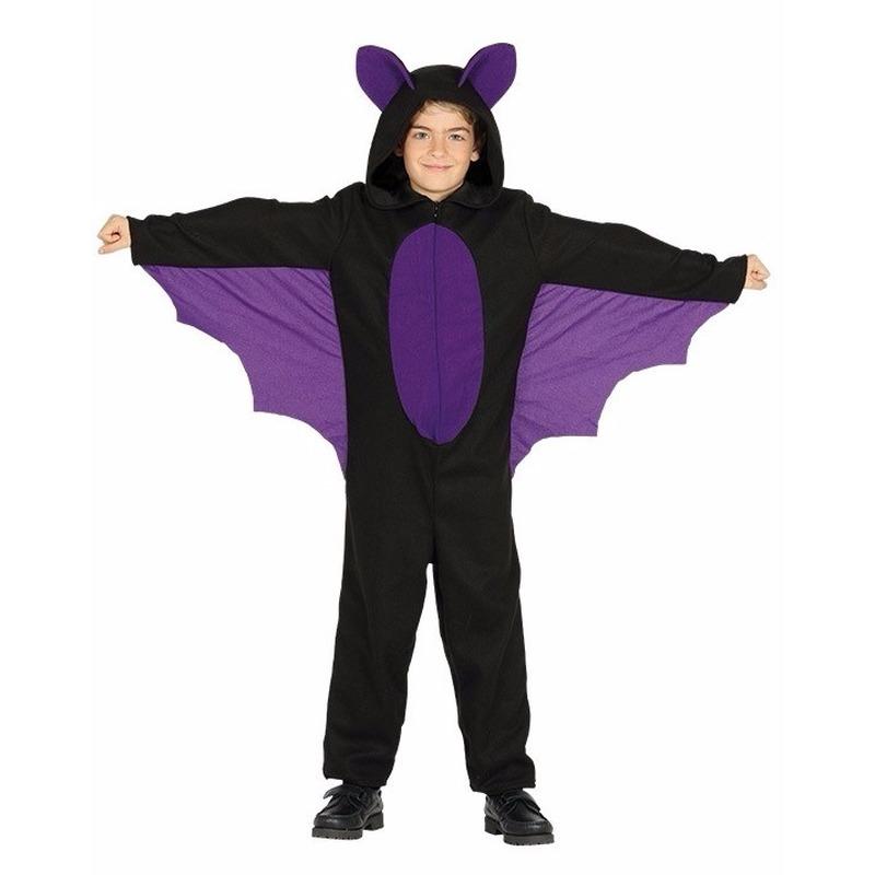 Halloween - Zwart met paars vleermuis halloween kostuum voor jongens