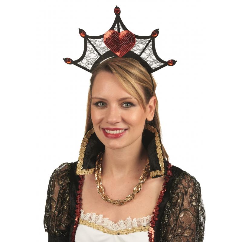 Verkleedaccessoires Hartenkoningin kroon aan diadeem