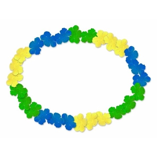 hawaii-krans-blauw-geel-en-groen