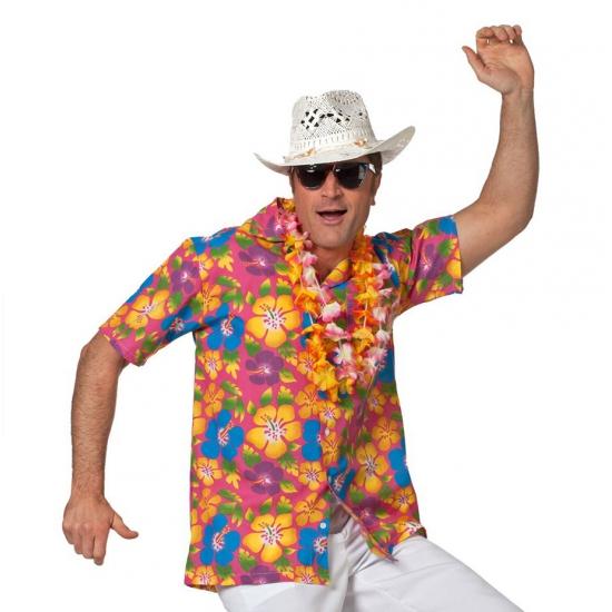 Landen kostuums Hawaiishirt roze voor heren