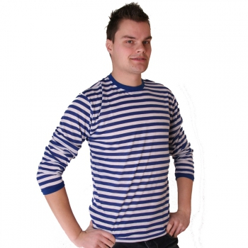 Heren gestreepte shirts blauw met wit