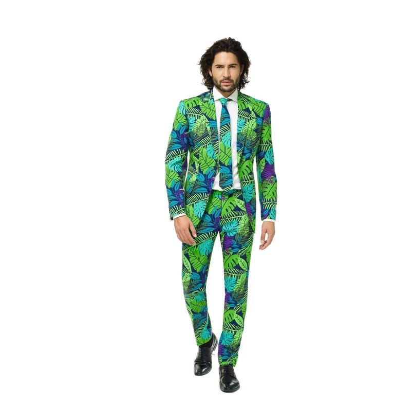Heren kostuum met jungle print