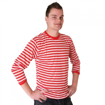 Heren rood met witte verkleed shirts met strepen