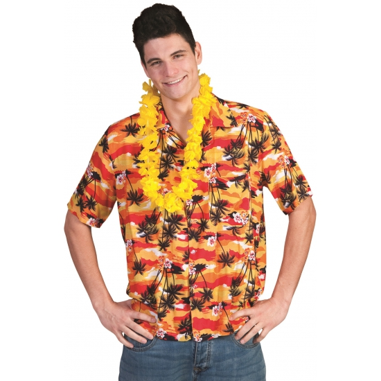 Heren shirt hawaii oranje