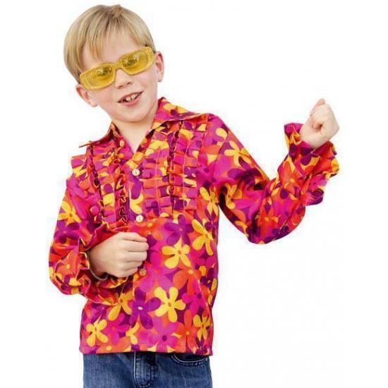 Landen kostuums Hippie blouse met rouches voor kinderen
