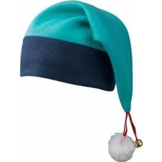Kerstmuts navy/turquoise met belletje voor volwassenen