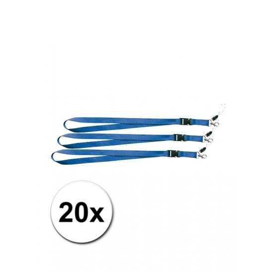 Keycords blauw 20 stuks