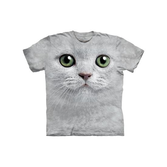 The Mountain Kinder T shirt witte kat met groene ogen T shirts en poloshirts