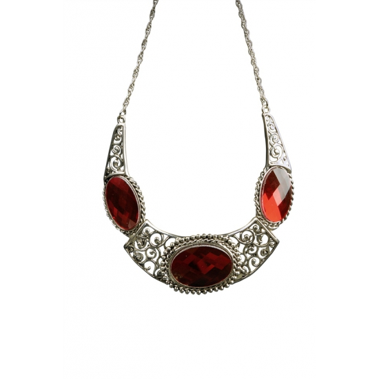 Middeleeuwse koninginnen ketting met rode stenen. mooie koninginnen halsketting met 3 rode geslepen stenen....