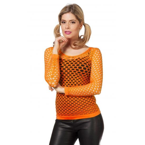 Koningsdag Oranje netshirt met lange mouwen