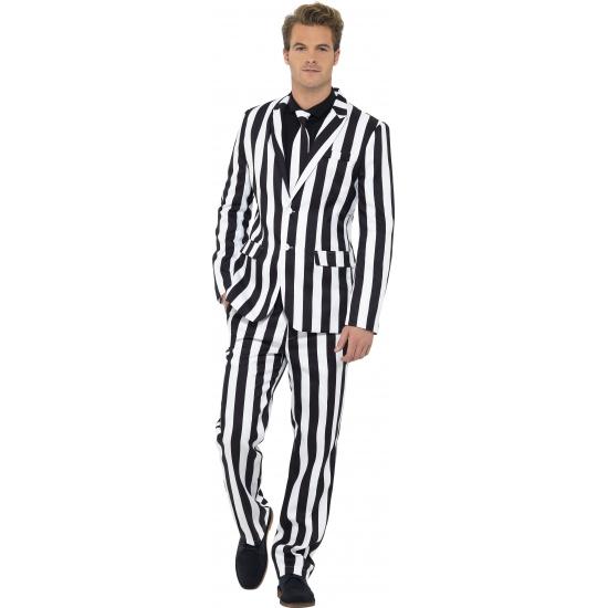 Kostuum carnaval zwart met wit gestreept heren