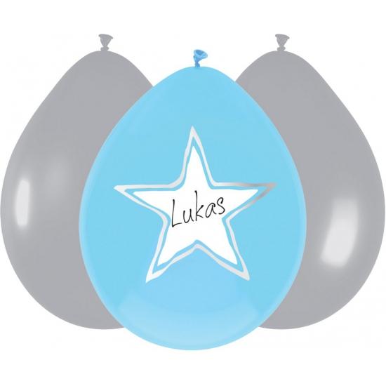 Kraamversiering blauwe ballonnen 6 stuks