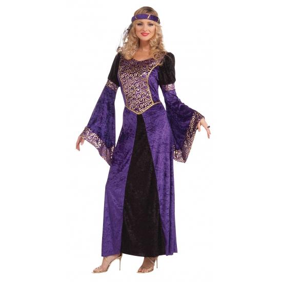 Middeleeuwse paarse damesjurk