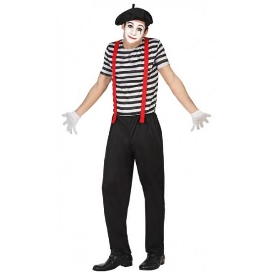 Mime clowns heren kostuum