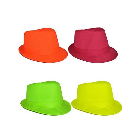 Feest hoeden Neon gangster hoedjes
