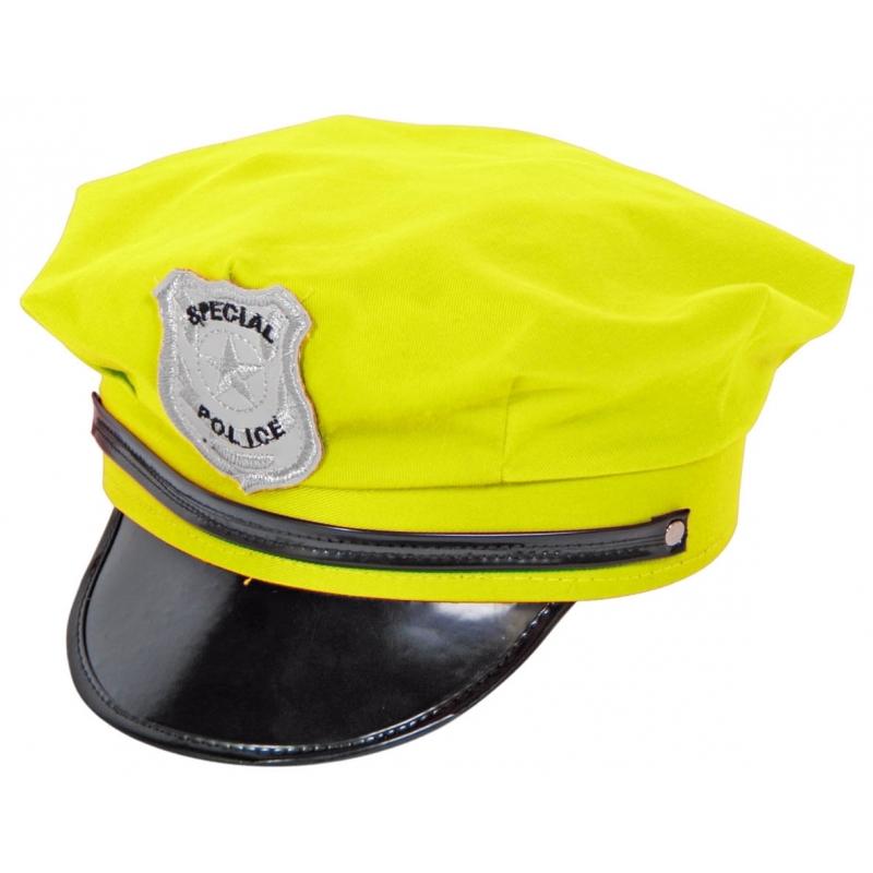 Neon gele politiepet Geen Feest hoeden